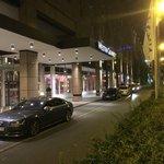 Hotel entry, valet parking.