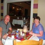my wife & i in the turkish restaurantbat jaz mirrabel