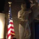 Soldier statue at the video presentation; start of the museum tour