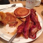 "10 ""silver dollar"" pancakes with side of bacon"