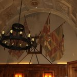 Chandaliers & Flags Whilst Dining