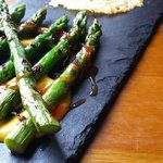 Esparragos: Char Grilled Asparagus Spears with an Idiazabal (Smoked Sheep Cheese) Crisp