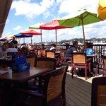 Outdoor seating overlooking marina.