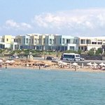 A view of the hotel over the beach.