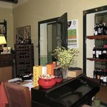 Dining room with some of the extensive wine cellar