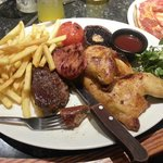Mixed Grill & Slightly out of shot pepperoni pizza