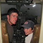 Sitting in a transport aircraft
