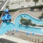 View of slide and lazy river from our 7th floor deck