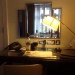 desk, lots of plugs