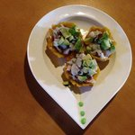plaintains stuffed with ceviche and avocado