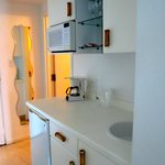 Kitchenette:  fridge, microwave, sink, cabinet space galore