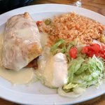 chicken chimichanga with queso sauce....delish!!!