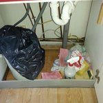 Dirty cloths left in cupboards