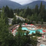 Pool and hot tubs right off the spa.   Pool is heated for chilly nights