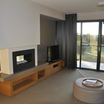 Gas fire and view to rear