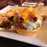 moms black and bleu burger with cheddar