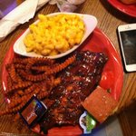 ribs, sweet potato fries and mac and cheese