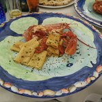 Half (shared) portion of paccheri with live blue lobster