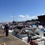 The lock full of boats head to Lake Washington.
