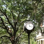 Old fashioned clock at center of College of Charleston campus