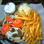 Gyro plate with French Fries and coleslaw for $7.50