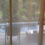 房间外就是泳池