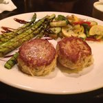 Lump crab cakes, roasted asparagus, mixed vegetables