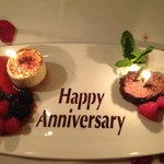Complimentary dessert with chocolate stenciled greeting