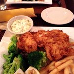 Baked Haddock (back ground) and Fried Haddock - both with excellent French fries.