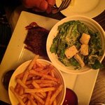 filet mignon, fries and cesar salad