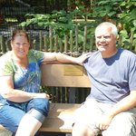 My wife and I sitting on my parents' bench