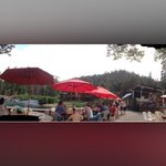 Riva Ranch a Patio Bar for snack and drinks. End of rafting tour here. July 2014.