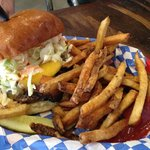 The special of the day: burger with bbq brisket and cole slaw. Delicious!