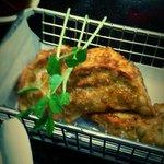 fried gyoza dumplings. -im not a good photographer sorry. :)