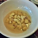 Gnocchi in Brandy-Cream with Bacon and Slivered Almonds.