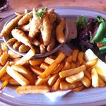 Whiting, chips, tartare sauce and a side salad