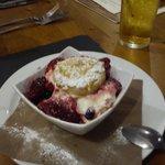 white chocolate shortcake and ice cream