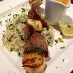 Turf and surf skewers with lo lobster sauce