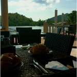 Sitting by the bay at the resort's dining area with freshly sliced ripe mangoes!