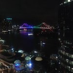 View of Story Bridge from balcony at night