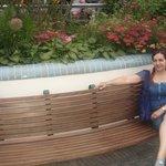 På bænken i selv blomsterhaven
