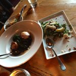 Scallop dish and Asian pear & arugula salad