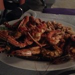 Seafood platter (for 2!). There is a whole fish hidden under the lobster and prawns that you can