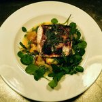 Woodfire roasted hake in white wine and dill with watercress and crushed new potatoes