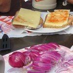 kase and brot - so yummy - we brought our own onions...