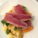 Corn Beef over potatoes, kale and carrots