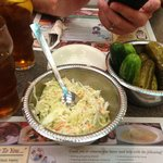 coleslaw and pickles.... LOVED the pickles!