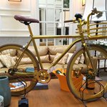 Cool bike in the lobby area.