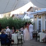 Wedding Courtney and Rob's reception in the outdoor courtyard 2014