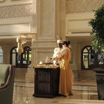 In the lobby w/ date & tea cart